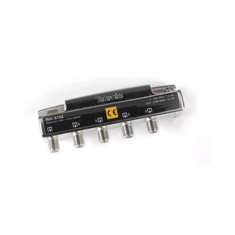 Repartidor 4 direcciones 5/2400 7,5/9,5db conector F Televes 5152
