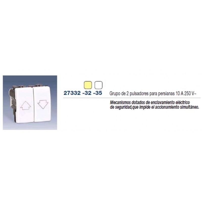 GRUPO DE 2 PULSADORES CON ENCLAVAMIENTO PARA PERSIANA MARFIL SIMON 27332-32