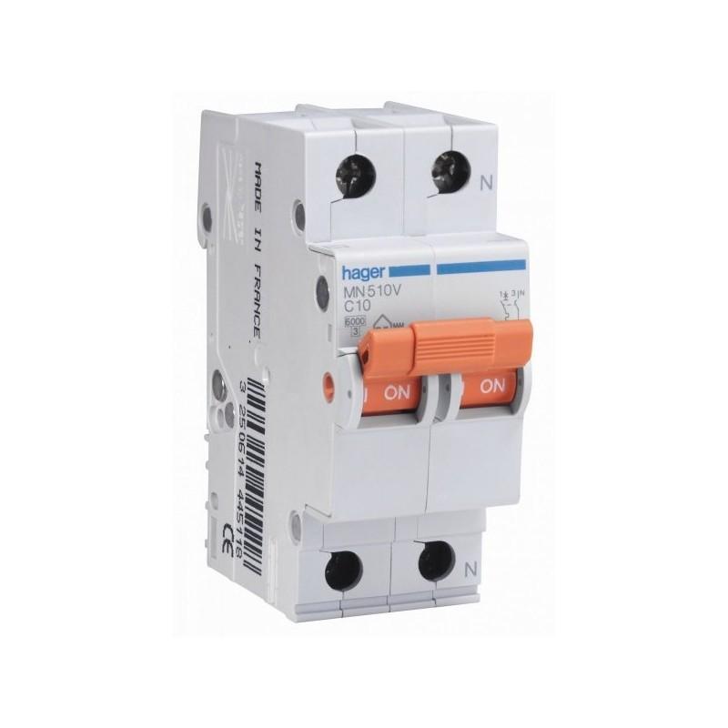 Magnetotermico 1P+N 10A Curva C 6KA Hager MN510V