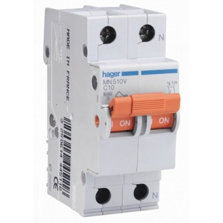 MAGNETOTERMICO 1P+N 10A MN510V HAGER