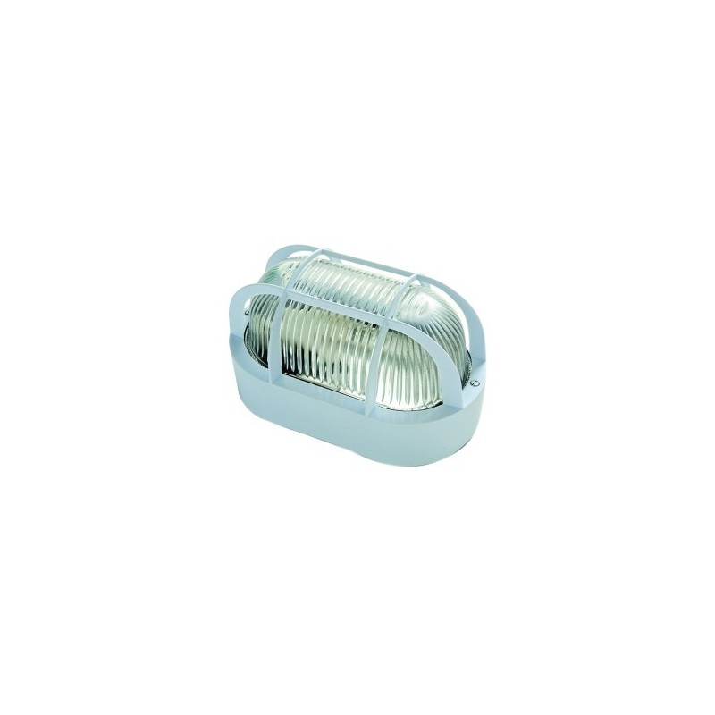 Aplique estanco 60w e 27 blanco oval ip44 - Enchufe exterior estanco ...