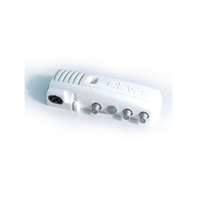 Amplificador tv interior vivienda 1 Salida+TV 47-862MHz 17/27db conector F Televes 5519