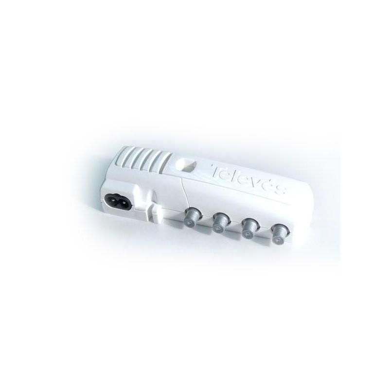 Amplificador tv interior vivienda 2 Salidas+TV 47-862MHz 20db conector F Televes 5522