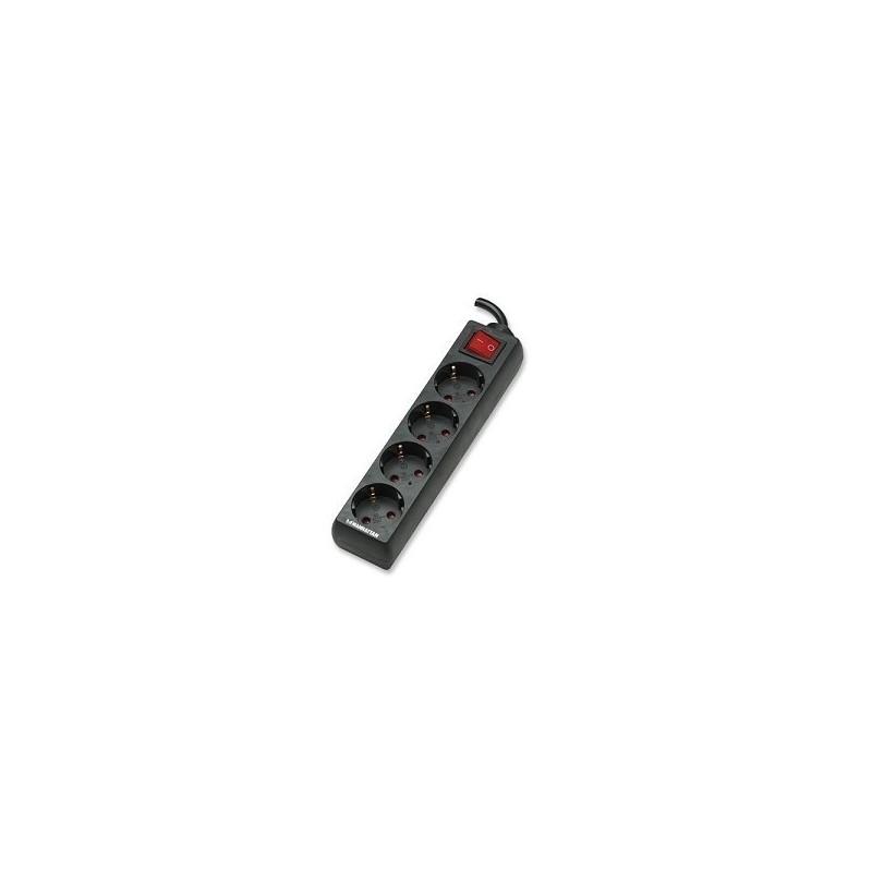 Base multiple 4 enchufes interruptor y 1.5 m cable negra