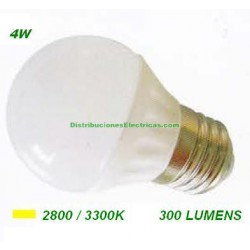 LAMPARA ESFERICA LED 4W 230V E27 300LUM LUZ CALIDA 2800-3300K SOLBRIGHT