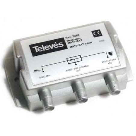 Mezclador señales satelite 2 Entradas Terrestre + Sat 1 Salida conector F Televes 7452