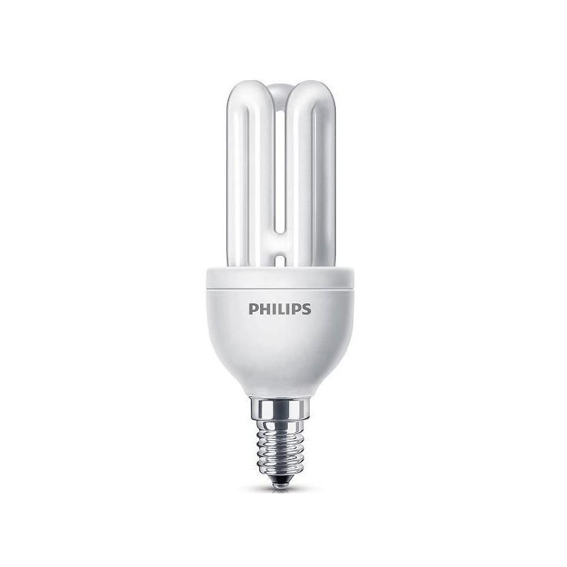 Bombilla fluorescente bajo consumo 11W 230V E14 2700K Luz Blanco Calido Philips 80116610