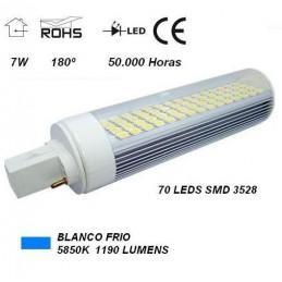 Lampara led pl g24 7w 230v 180º blanco frio 5850ºk 1190lm Agfri 3021