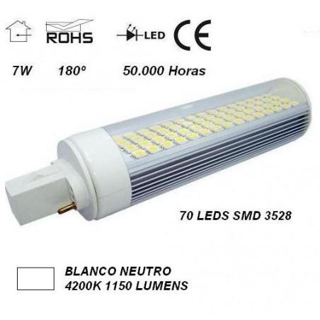 LAMPARA LED PL G24 7W 230V 180º BLANCO FRIO 5850ºK AGFRI