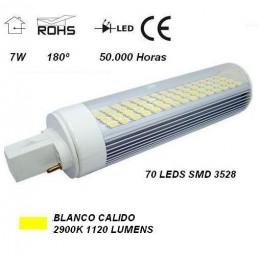 Lampara led pl g24 7w 230v 180º blanco calido 2900ºk 1120lm Agfri 3023