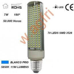 LAMPARA LED PL E27 7W 230V 180º BLANCO FRIO 5850ºK 1190LM AGFRI