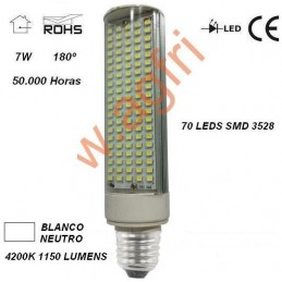 LAMPARA LED PL E27 7W 230V 180º BLANCO NEUTRO 4200ºK 1150LM AGFRI