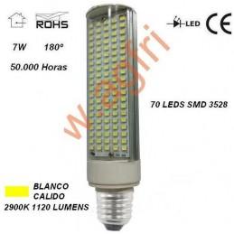 LAMPARA LED PL E27 7W 230V 180º BLANCO CALIDO 2900ºK 1120LM AGFRI