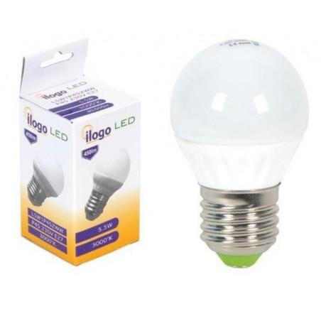 LAMPARA ESFERICA LED 5.5W 230V E27 450LUM LUZ  BLANCO CALIDO 3000K ILOGO L5W1P452WW
