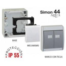 BASE Y MARCO CON TECLA DOBLE IP55 PARA MECANISMOS SIMON 27 SIMON 4490782-035