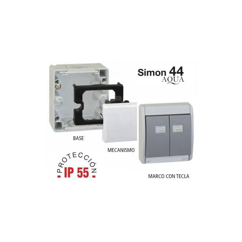base y marco con tecla doble ip para mecanismos simon simon
