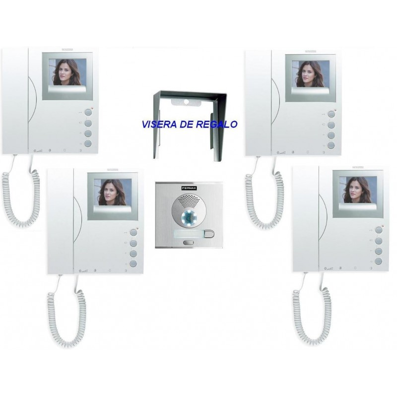 Videoportero color con 1 placa calle y 4 monitores Fermax