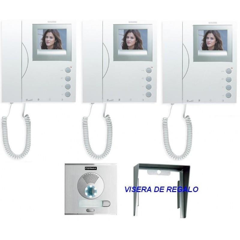 Videoportero color con 1 placa calle y 3 monitores Fermax