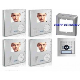 Videoportero color 1 linea 2 hilos 1 placa calle 4 monitores manos libres Tegui