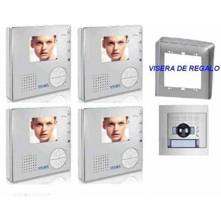 VIDEOPORTERO COLOR CON 1 PLACA CALLE Y 4 MONITORES MANOS LIBRES TEGUI