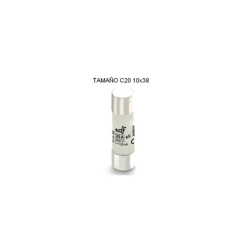 Fusible cartucho C20 2Amp 10x38 cilindrico ceramico