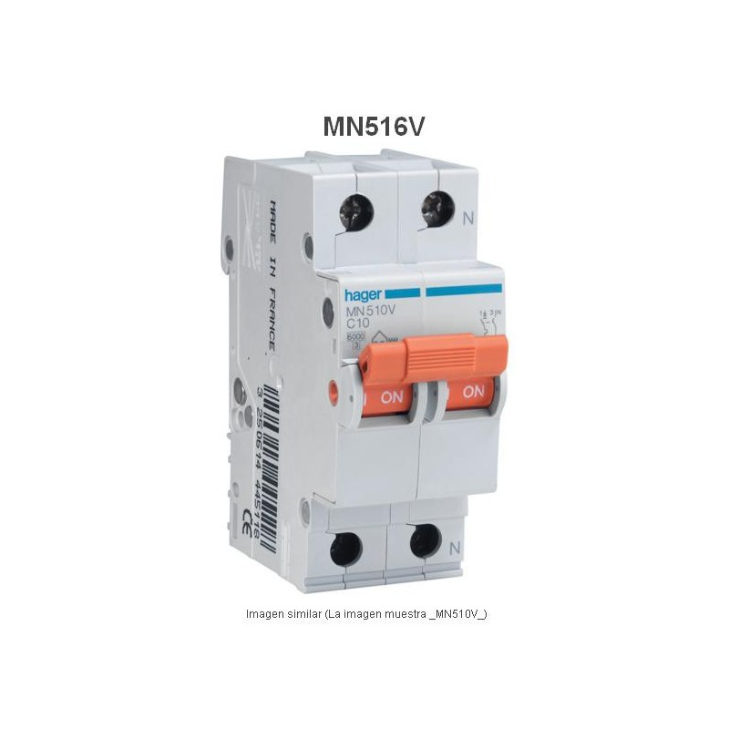 Magnetotermico 1P+N 16A Curva C 6KA Hager MN516V