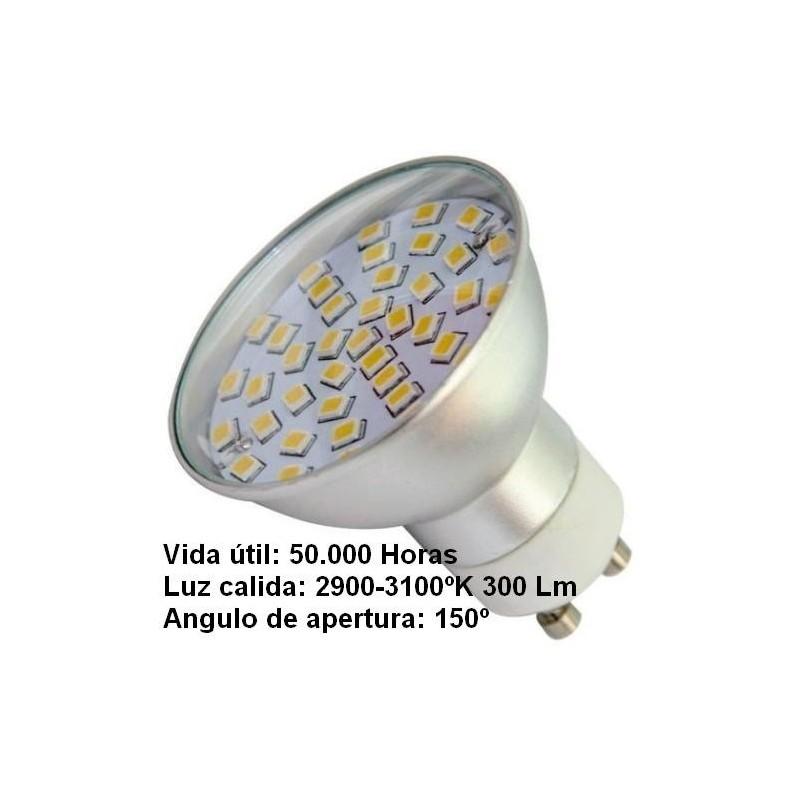 Bombilla dicroica led 4.5w gu10 230v 150º blanco calido 2800k 300lm Agfri 2103