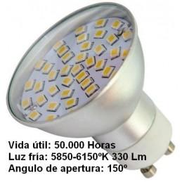 Bombilla dicroica led 4.5w GU10 230v 150 Grados blanco frio 5850-6150k 330lm Agfri 2101