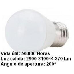 Bombilla led esferica 3w 230v e27 370lum luz blanco calido 2900-3100k Agfri 6063