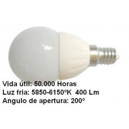 Bombilla led esferica 3w 230v e14 400lum luz blanco frio 5850-6150k Agfri 6051
