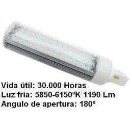 Bombilla led pl G24 7w 230v 180º blanco frio 5850-6150ºk 1190lm Bdt-Led PL7104