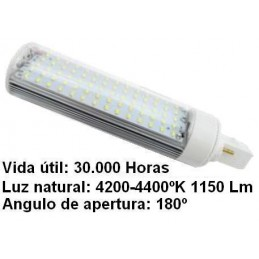 Bombilla led pl G24 7w 230v 180 Grados blanco neutro 4200-4400k 1150lm Bdt-Led PL7105