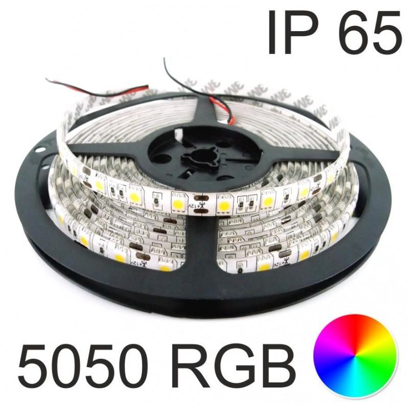 Tira de Leds RGB 72w 12v 5 mts 120º estanca SMD5050 Agfri 15131