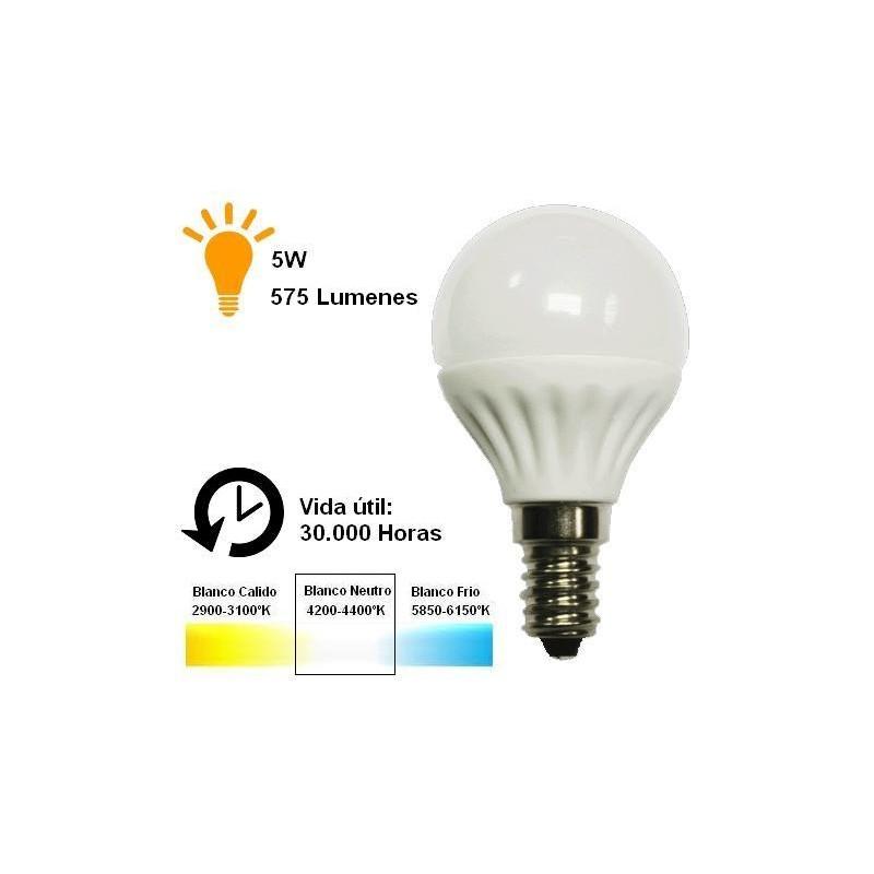 Bombilla led esferica 5w 230v e14 575lm luz blanco neutro 4200-4400k Agfri 6055