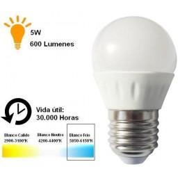 Bombilla led esferica 5w 230v e27 600lum luz blanco frio 5850-6150k Agfri 6064