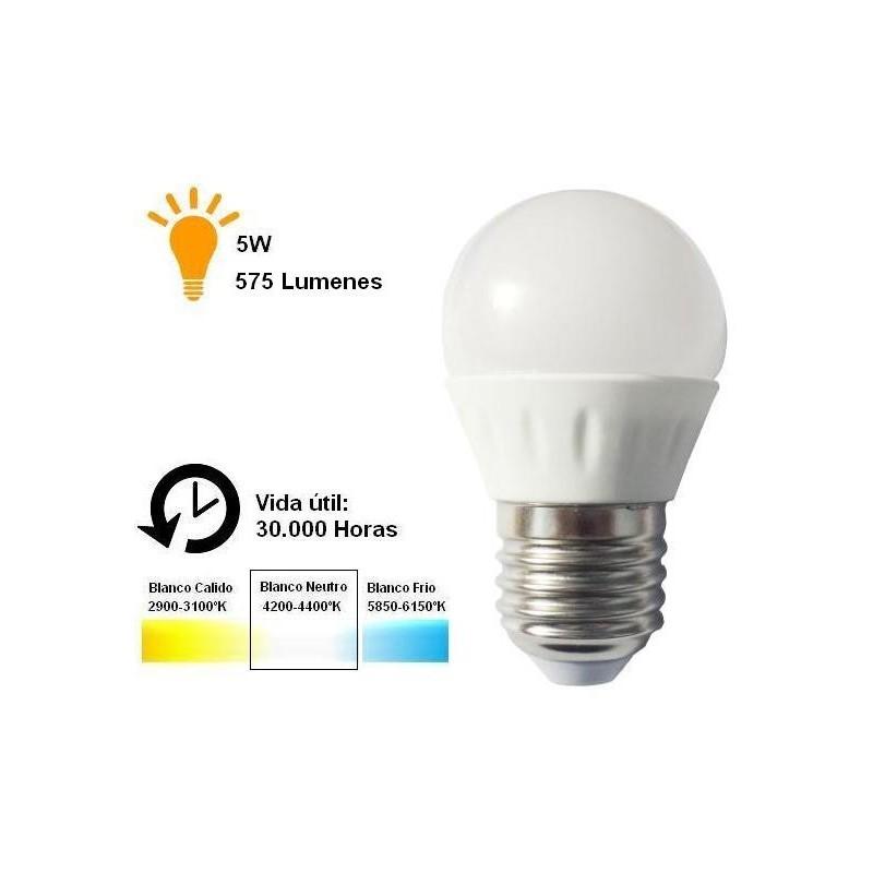 Bombilla led esferica 5w 230v e27 575lum luz blanco neutro 4200-4400k Agfri 6065