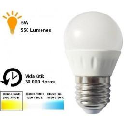 Bombilla led esferica 5w 230v e27 550lum luz blanco calido 2700-2900k Agfri 6066