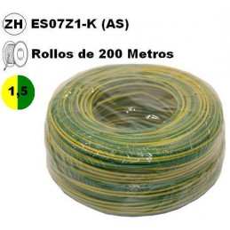 Cable flexible 1x1.5mm2 tierra libre halogenos 750v 200 Metros