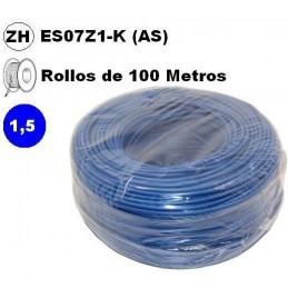 Cable flexible 1x1.5mm2 azul libre halogenos 750v 100 Metros
