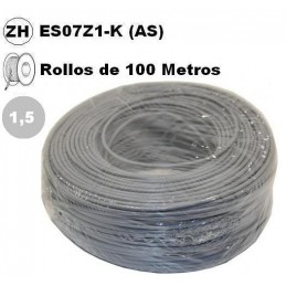 Cable flexible 1x1.5mm2 gris libre halogenos 750v 100 Metros
