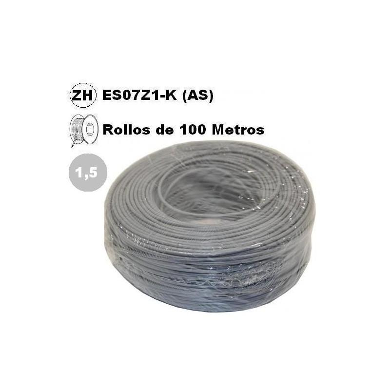 Cable flexible 1x1.5mm2 gris libre halogenos 750v 100 Metros