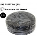 Cable flexible 1x2.5mm2 negro libre halogenos 750v 100 Metros