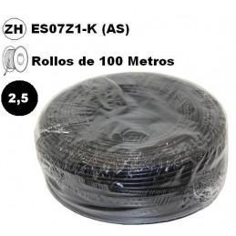 Cable flexible 1x2.5mm2 negro libre halogenos 750v 100 Metros