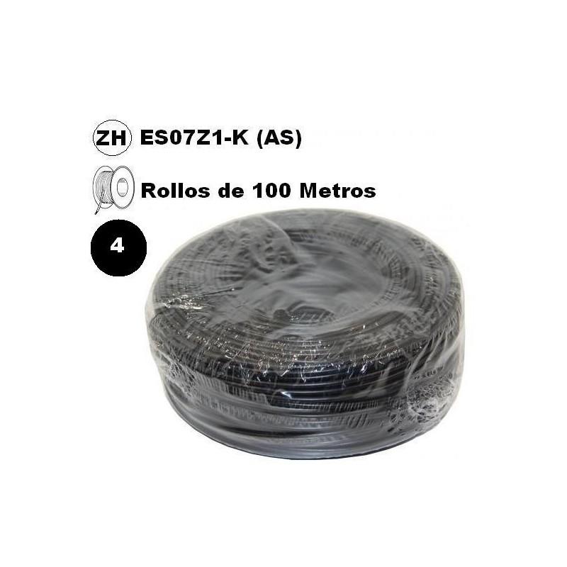 Cable flexible 1x4mm2 negro libre halogenos 750v 100 Metros