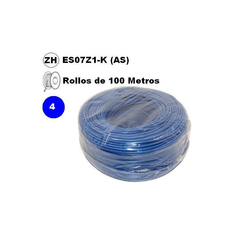 Cable flexible 1x4mm2 azul libre halogenos 750v 100 Metros