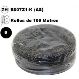 Cable flexible 1x6mm2 negro libre halogenos 750v Miguelez 100 Metros