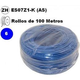 Cable flexible 1x6mm2 azul libre halogenos 750v Miguelez 100 Metros