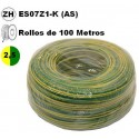 Cable flexible 1x2.5mm2 tierra libre halogenos 750v 100 Metros