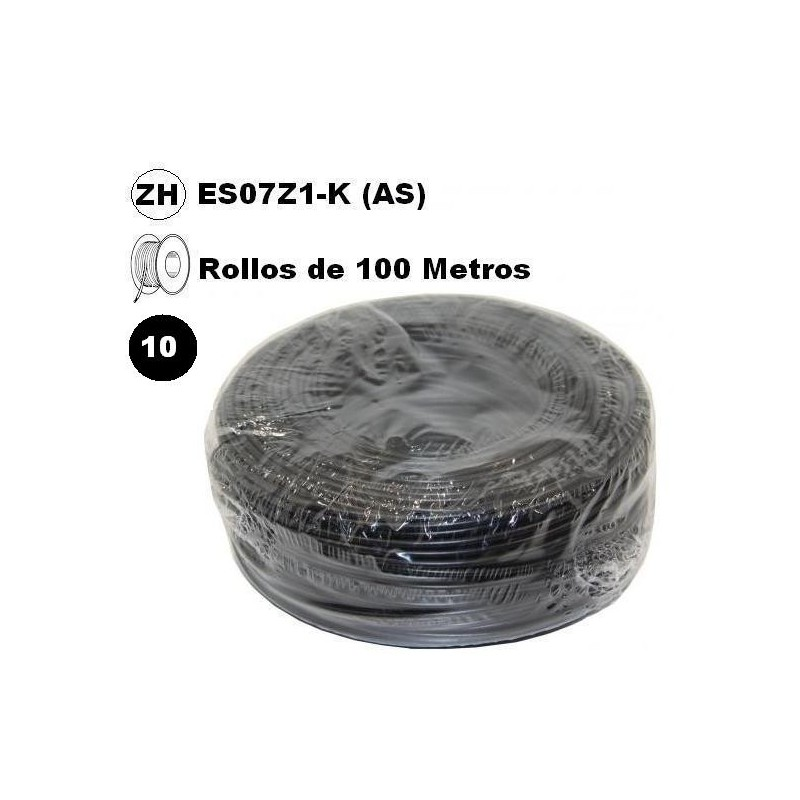 Cable flexible 1x10mm2 negro libre halogenos 750v 100 Metros