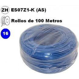 Cable flexible 1x16mm2 azul libre halogenos 750v Miguelez 100 Metros